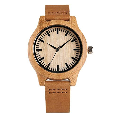 Reloj de madera simple para parejas, minimalista, de madera, de cuarzo, correa de cuero, reloj de madera de bambú, regalo para los amantes y el vapor (color para mujeres)