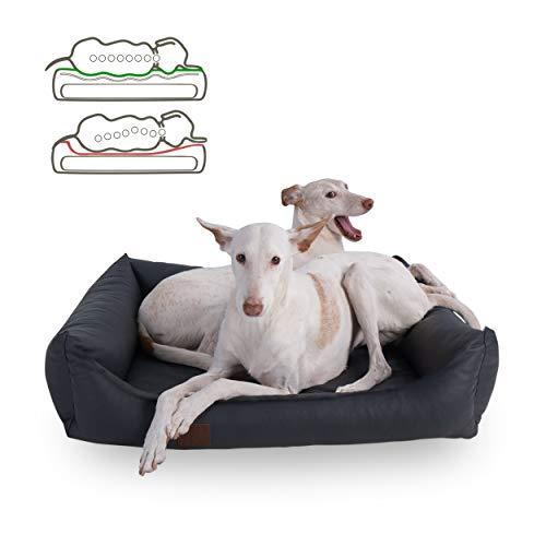 DOGGYFIT orthopädisches Hundebett Buddy, Kunstleder, Farbe Grau 100 x 80