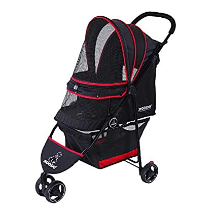 ROODO Escort Pet Stroller Dog and cat pet Three-Wheeled cart - Lightweight, Compact, Portable, Practical, Removable, Change Color (Black special edition) 1