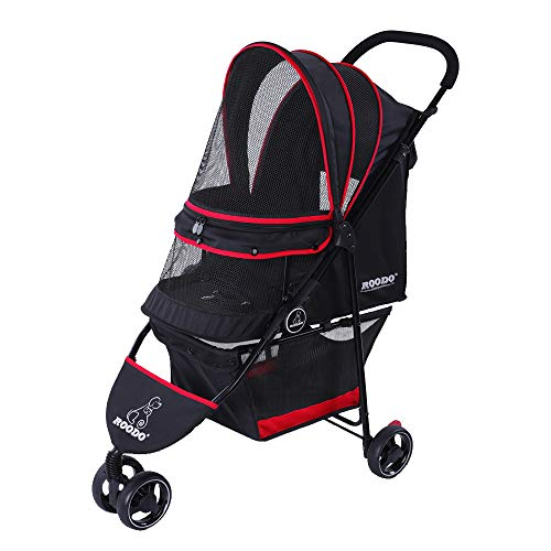 ROODO Escort Pet Stroller Dog and cat pet Three-Wheeled cart - Lightweight,...