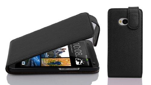 Cadorabo Hülle für HTC ONE M7 (1.Gen.) - Hülle in Oxid SCHWARZ – Handyhülle aus Strukturiertem Kunstleder im Flip Design - Case Cover Schutzhülle Etui Tasche
