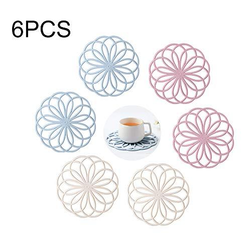 Kitchen-dream 6 STÜCKE Multifunktionale Runde Blume Untersetzer Matten Premium Qualität Isolierte Flexible Durable Rutschfeste Heiße Pads für Tasse Schüssel Geschirr Küche Geschirr (Rosa, Blau, Beige)