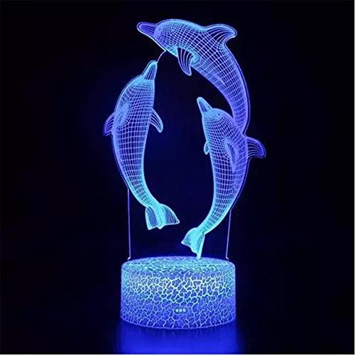 Control Remoto / Táctil Luz De Noche Led 3D Lámpara De Escritorio De Mesa Led Cambio De Color Luz De Noche Led De Delfín Luz Led 3D Para Regalo De Niños