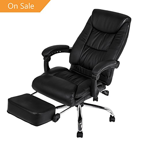 LCH High Back Executive Office Chair-Reclining Napping Computer Desk Chair with Adjustable Leanback Locking System and Footrest, Thick Padding for Comfort and Ergonomic Design for Lumbar Support