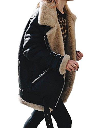 Minetom Damen Mäntel Mode Warm Casual Streetwear Winterjacke Wildleder Wolle Motorradjacke Fleece Outwear Jacke Parka Mit Taschen (DE 38, Schwarz)