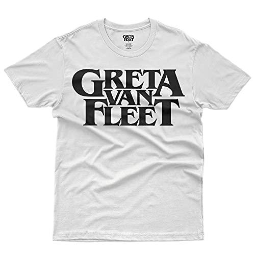 Greta Van Fleet- Classic Black Logo - T-Shirt Official Licensed Herren, X-Large, Weiß