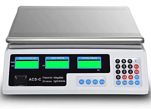 Electronic Price Computing Scale 88lb/40kg, Digital Commercial Food Meat...