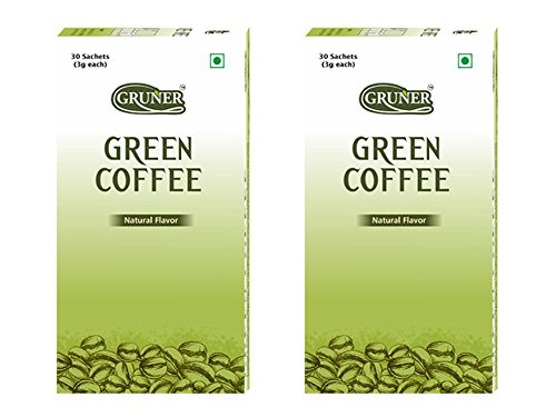 Gruner 100% Natural Unroasted Green Coffee Beans Powder for Weight Management Combo Pack of 2 (Each Box Contains 30 Sachet) 3gm Sachet