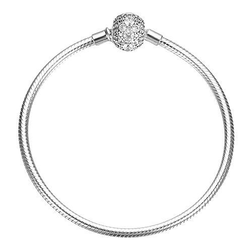 SOUFEEL 925 Sterling Silver Bracelet Crystal Clasp Charm Bracelets Snake Chain Bracelets 7.9 Inch (20CM)