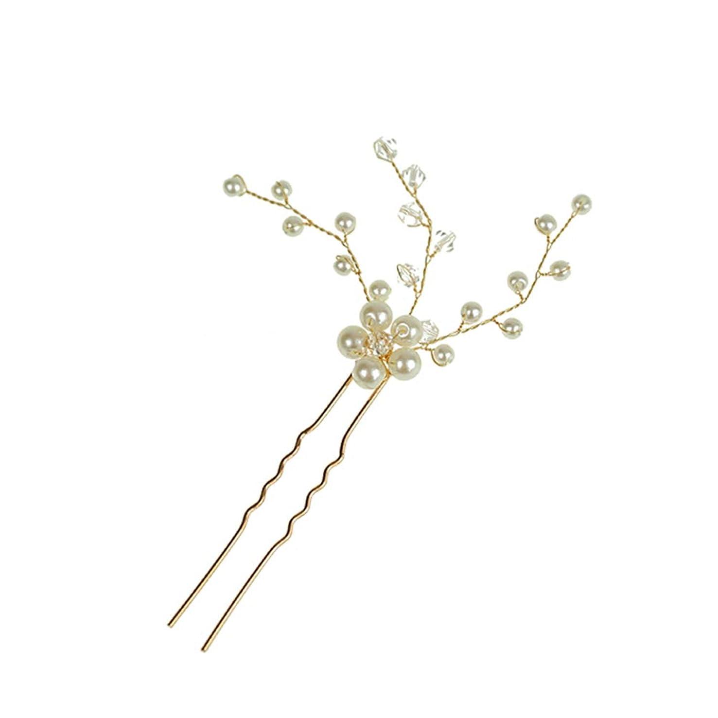 穿孔するまだら宿題LURROSE ブライダルクリアパールヘアピンクリップ装飾結婚式の花用女性フラワーヘアピンヘッドドレスブライダルアクセサリー