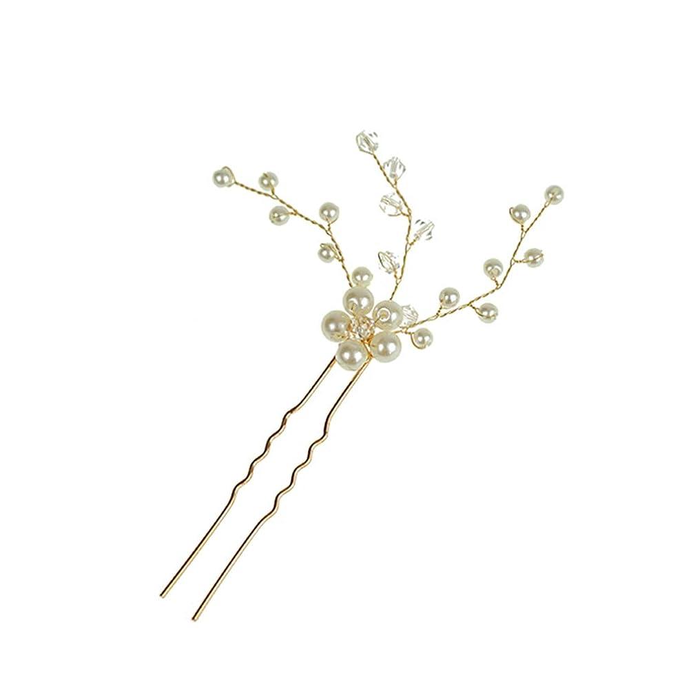 急いでどきどきピラミッドLURROSE ブライダルクリアパールヘアピンクリップ装飾結婚式の花用女性フラワーヘアピンヘッドドレスブライダルアクセサリー