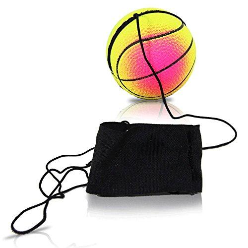 4er Pack Springball am Band mit Handmanschette, Flummi, Jojoball 4 cm