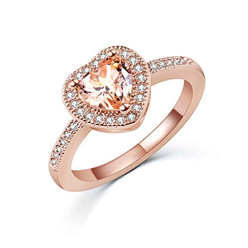 SR Luxurious Rose Gold Plated Heart-Shaped Cubic Zirconia Ladies Bridal Promise Engagement Ring Size...