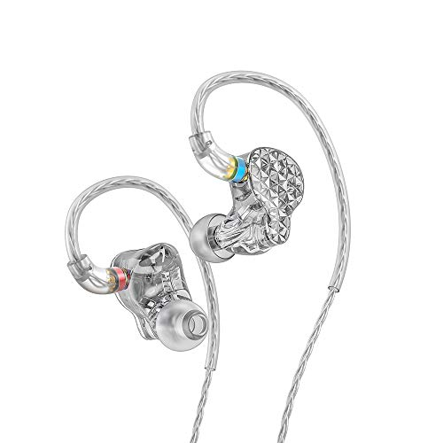 FiiO FA9 Knowles 6 Balanced Armature Driver in-Ear HiFi Earphones with Detachable MMCX monocrystalline Silver-Plated Copper Cable, DLP 3D Priting, High Resolution for Smartphones/PC/Tablet (Clear)