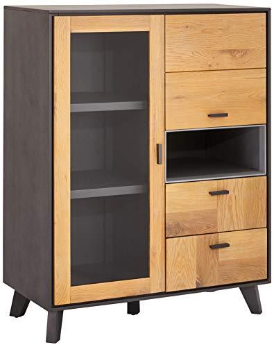 Ibbe Design Highboard Vitrine Massiv Eiche Holz Grau Lackiert MDF Sentosa mit Glastüre und 2 Schubladen, 91x45x120 cm