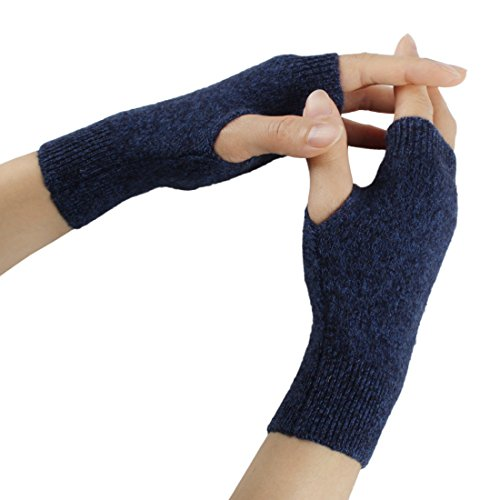 Larcele Kaschmir Handschuhe Fingerlose Fäustlinge Handwärmer für Damen BZST-02 (Dunkel Blau)