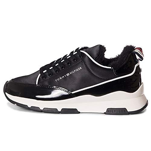 Tommy Hilfiger Damen COOL Technical Satin Sneaker, Schwarz (Black 990), 38 EU