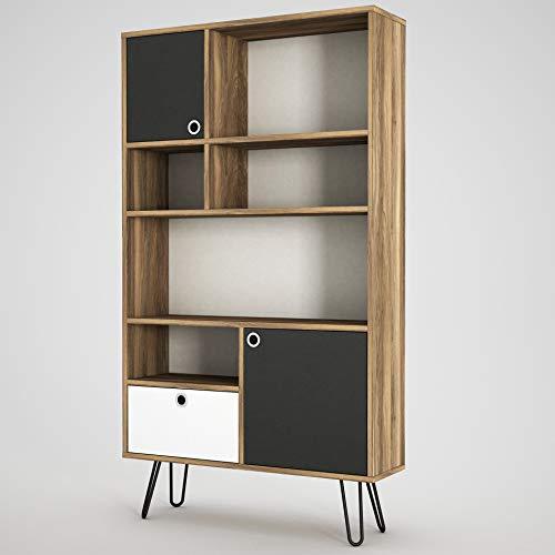 Alphamoebel 4180 Karamell Bücherregal Aufbewahrungsregal Wandregal Standregal Holz, Walnuss Anthrazit,mit Metallfüße, Designerregal für Wohnzimmer, 90 x 160 x 25 cm