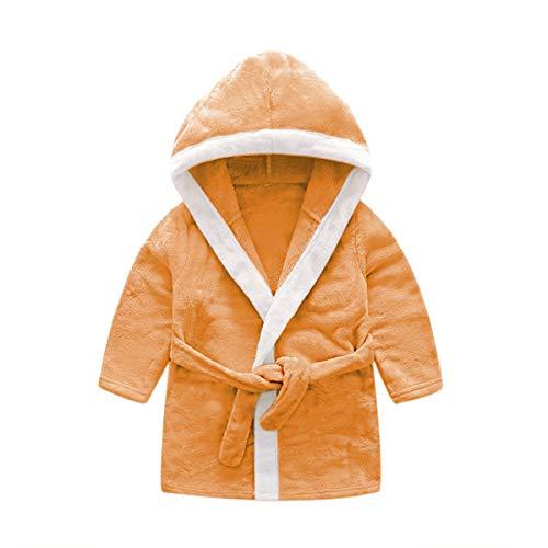 DEBAIJIA Kleinkind Bademantel 0-14T Baby Hausmantel Säugling Morgenmantel Kinder Pyjama Handtuch Robe Mädchen Junge Unisex (Orange-59)
