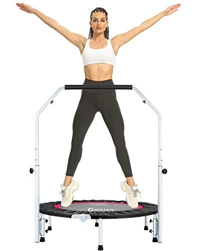 DARCHEN 350LBS Foldable Mini Trampoline, Fitness Rebounder with Adjustable Foam Handle, Exercise Trampoline for Adults Indoor/Garden Workout [40 Inches]