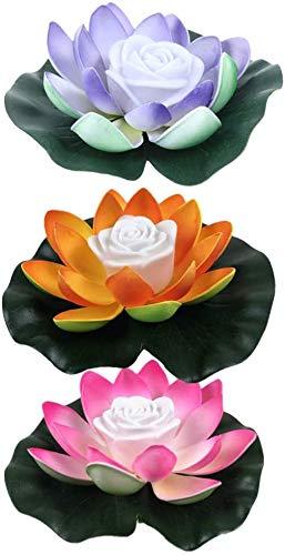 Kansang 3 StüCk Led Lotus Lichter KüNstliche Lotus Schwimmende Blumen, Dekorative Beleuchtung FüR Teich, Garten, Fischbecken Und Teich