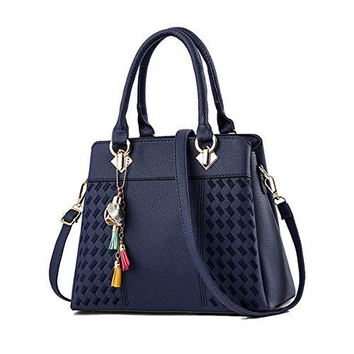 SDINAZ Bolsos de mano Mujer Bolsos bandolera Moda gran capacidad Bolsos totes Shoppers y bolsos de hombro Azul
