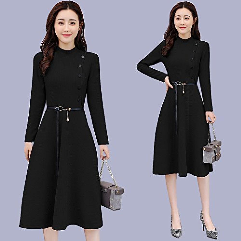 GAOLIM Spring Dress A Word Skirt Ms. Winter LongSleeved Round Neck Skirt Dress, 2XL,