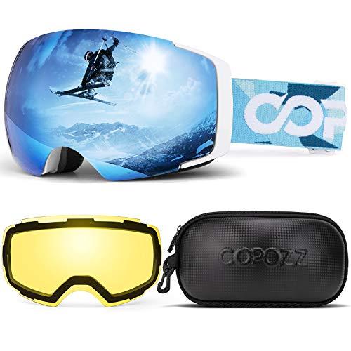 COPOZZ Polarisierte Skibrille Set, S1 OTG Snowboard Schneebrille gegen Blendung mit Anti-Fog Magnetischer Linse UV-Schutz Helm Kompatible Skibrille für Männer Frauen Damen Teen