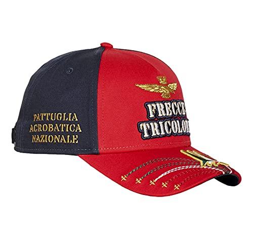 Aeronautica Militare HA1078, Cappellino Baseball, Berretto, Cappello, Visiera, Frecce Tricolori (Rosso-Blu)