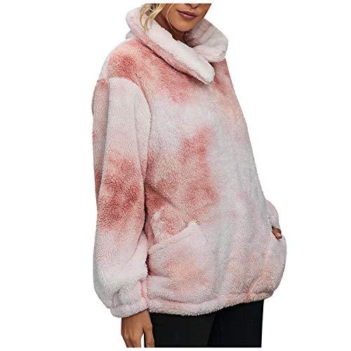 WYZTLNMA Womens Plush Autumn Winter Long Sleeve Tie-Dye Fashion Long Sleeve Coat Pocket Casual Hooded Pullover Sweatshirts Pink