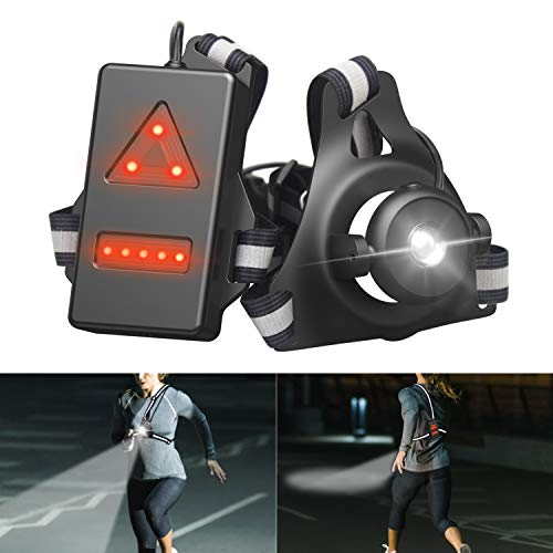 BOIROS Lauflicht Wiederaufladbare USB LED Lauflampe Sport, wasserdicht, Stirnlampe Chest lamp with Warning red Light, Einstellbarer Abstrahlwinkel, perfektes Licht zum Läufer,Jogger, Angeln, Gehen