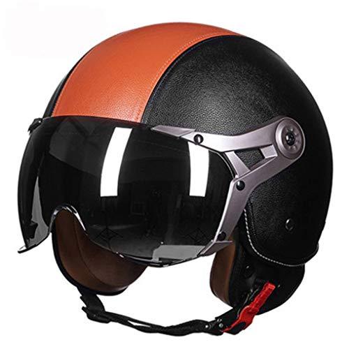 OLEEKA Unisex tipo de motocicleta cubierto tipo medio casco eléctrico? Adaptar casco de seguridad de la fuerza aérea ✅