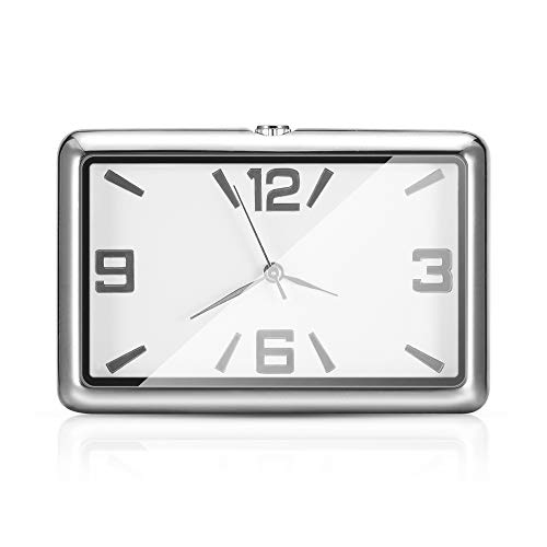 Winbang Reloj del Tablero de Instrumentos del Coche, Relojes del automóvil Reloj de Cuarzo Decoración Hermosa del Coche Reloj Adornos Mini Estilo Adhesivo (Blanco)