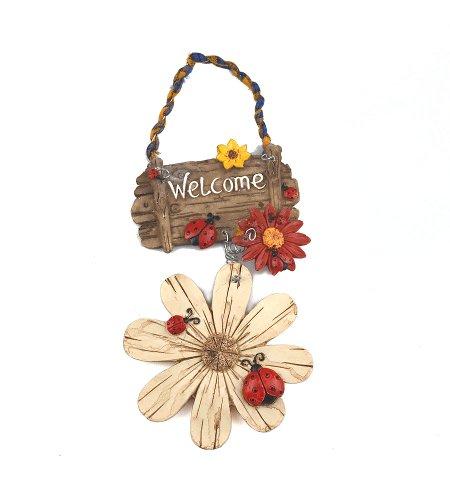 Panneau de porte de bienvenue en résine blanche avec fleurs et coccinelles à suspendre Décoration de maison Décor de jardin