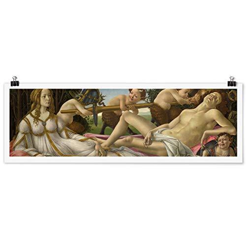 Bilderwelten Poster Sandro Botticelli - Venus und Mars Panorama Querformat, Matt 40 x 120 cm