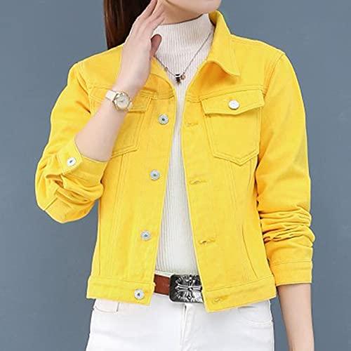 SHENSHI Denim Jacket Mujer,Chaquetas Básicas Abrigos Mujer Abrigo Corto Elástico Delgado Ropa, Amarillo, Pequeño
