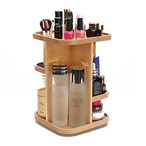 ILH Cosmétiques Boîte De Rangement À 360 Degrés Soins De La Peau En Bois Rotating Display Cabinet Organisateur
