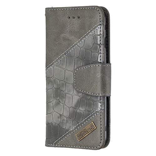 Funda para Samsung Galaxy A12, piel sintética a prueba de golpes, absorción de golpes, con ranuras para tarjetas de TPU, cierre magnético, protección completa, color gris