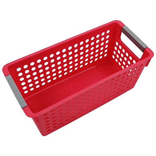 Hrsptudorc Japanese-Style Cestas De Almacenamiento De Plástico Apilables/Organizador Juguetes De Frutas Ropa Caja De Guantes Cesta De Almacenamiento De Residuos (Rojo) S: 29 X 16 X 2 Cm