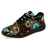 Steampunk Shoes Mens Womens Running Shoes Walking Tennis Sneakers Steampunk Gear Vintage Style Clock Shoes Gift for Men Women,Size 5 Men/7 Women Black