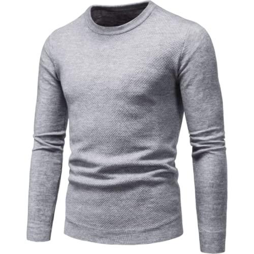 Jersey de Manga Larga para Hombre, Jersey de Punto, Cuello Redondo, Ligero, Fino, Color sólido, tamaño Grande 3XL