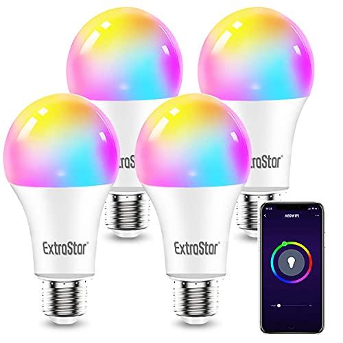 EXTRASTAR 4 Pack Bombilla Alexa LED Intelligente E27, 10W, 1000LM, Regulable Multicolor + Luz Cálida o Blanca, 16 Millones de Colores, Funciona con Alexa y Google Home