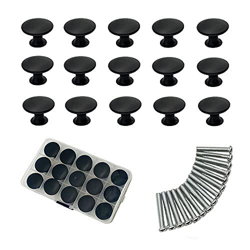 Lyaor 15 Piezas Pomos de Cajones Negro 30mm Tiradores de Cajón Clásicos Pomos de Muebles de Aleación de Cinc Pomos Redondos para Puertas/Armarios de Cocina/Cajones
