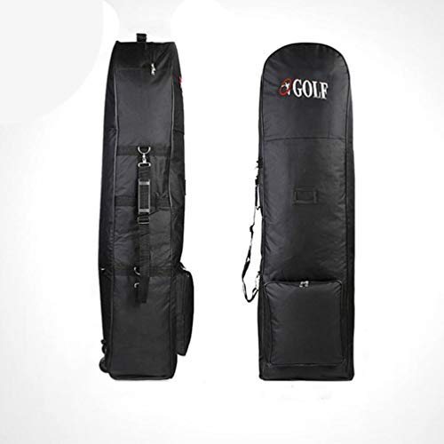 Portable Padded Golf Bag Durable Travel Cover Case With Wheels Nylon Construction Carrying Coverall Sporting Equipment(Black)