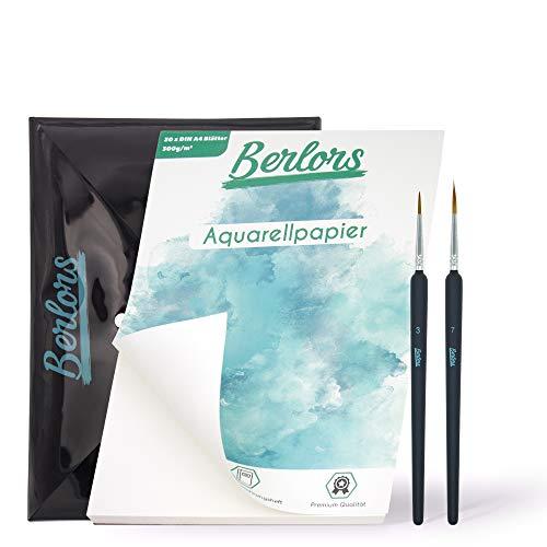 BERLORS® [30x] Blatt DIN A4 Aquarell Papier 300g – Set mit zwei Detailpinseln - inkl. Aufbewahrungsheft - glatte Vorderseite & raue Rückseite