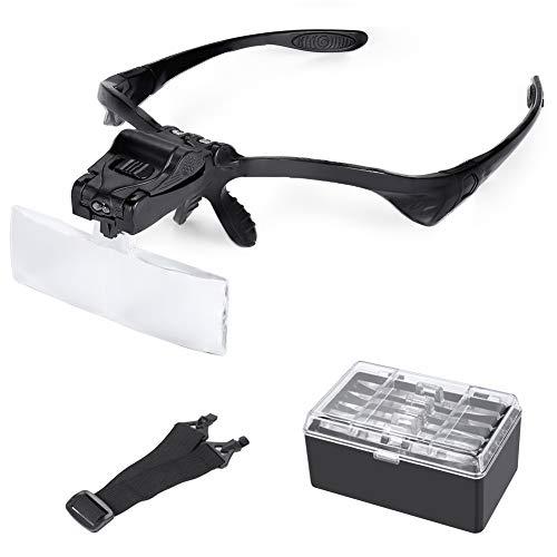 HooAMI Lupenbrille mit Licht LED Kopfbandlupe Vergrößerungsbrille Brillenlupe mit beleuchtung für Lesen Handwerk Juweliere Nähen und Reparatur