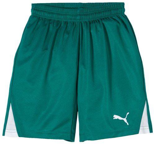 PUMA Kinder Hose Shorts with Innerbrief, Team Green-white, 176