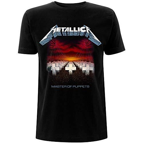 Metallica Master of Puppets Tracks_Men_bl_TS: S Camiseta, Negro (Black Black), Small para Hombre
