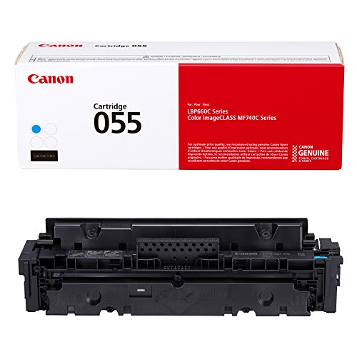 Canon Genuine Toner, Cartridge 055 Cyan (3015C001) 1 Pack, for Canon Color imageCLASS MF741Cdw, MF743Cdw, MF745Cdw, MF746Cdw,LBP664Cdw Laser Printers
