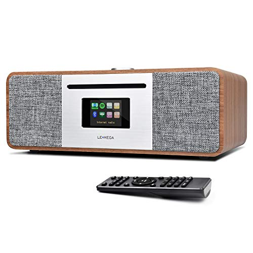 LEMEGA MSY5 20W All-in-One Smart Music System with FM Digital Radio, CD Player, WiFi, Bluetooth, Stereo Sound, USB MP3, Headphone-Out, Alarm Clock, Colour Display– Walnut